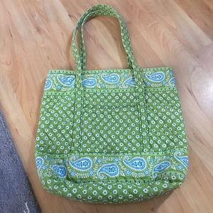 VERA BRADLEY APPLE GREEN AND BLUE TOTE BAG